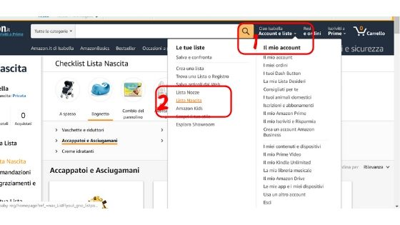 Primo step per creare una lista nascita amazon