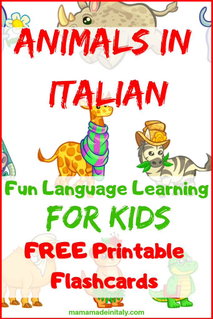 Animals in Italian - fun language learning for kids with flashcards