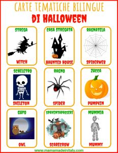 flaschard halloween italiano inglese