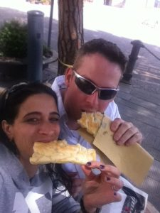 Scott and I eating focaccia