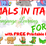 Animals in Italian: fun language learning for kids with Free printable flashcards